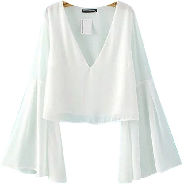 Chicnova Fashion Bell Sleeve Chiffon Blouse in White (22 CAD) ❤ liked on Polyvore featuring tops, blouses, v-neck tops, chiffon blouse, v neck blouse, chiffon tops and white v neck blouse