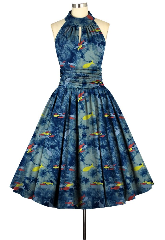 Retro Fish Print Ruched Waist Dress by Chic Star Standard size retail USD 39.00 GBP 32.00 Plus size retail USD 44.00 GBP 36.00
