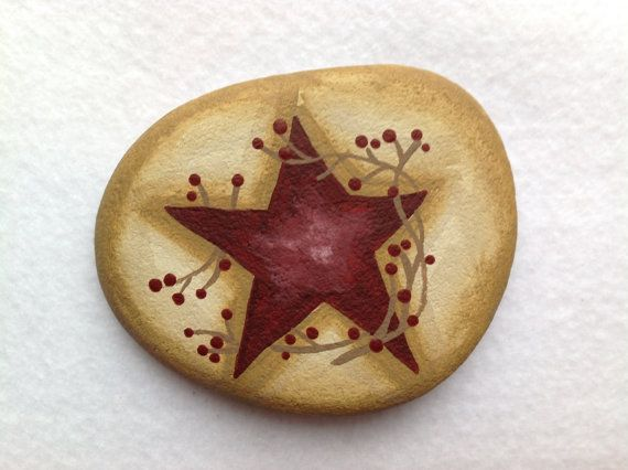Medium Primitive Star Painted Rock Paperweight, Office Supply, Home Decor