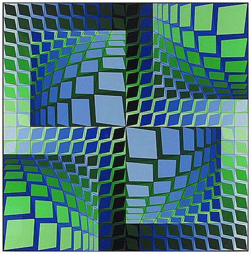 Thez 1982 by Victor Vasarely, Limited Edition Print, Silkscreen on Arches Paper