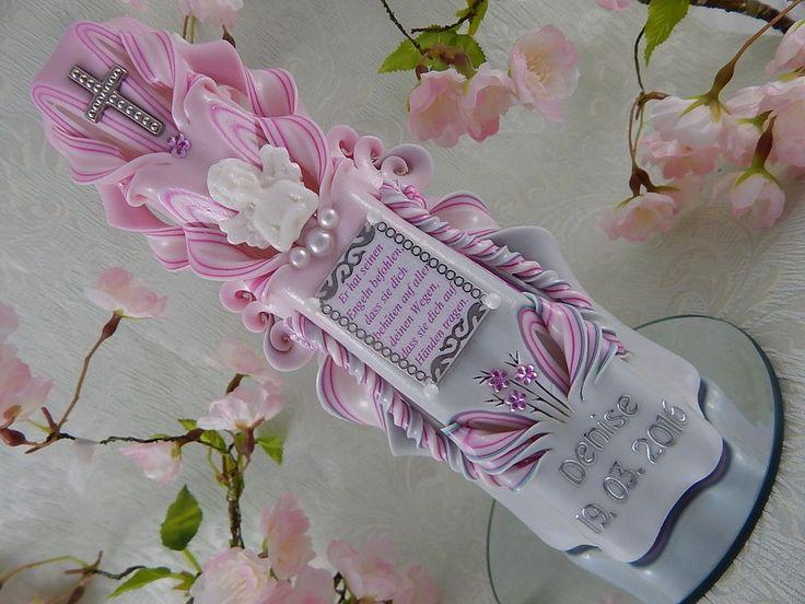 Taufkerze mit Taufspruch oder Foto Name und Datum Schutzengel  Mädchen Rosa 82