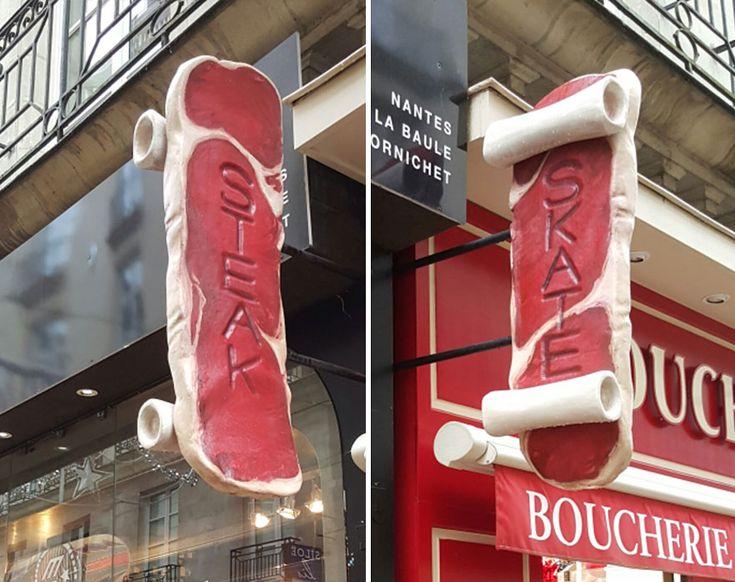 Un skateshop et une boucherie partagent la même enseigne - https://www.2tout2rien.fr/un-skateshop-et-une-boucherie-partagent-la-meme-enseigne/