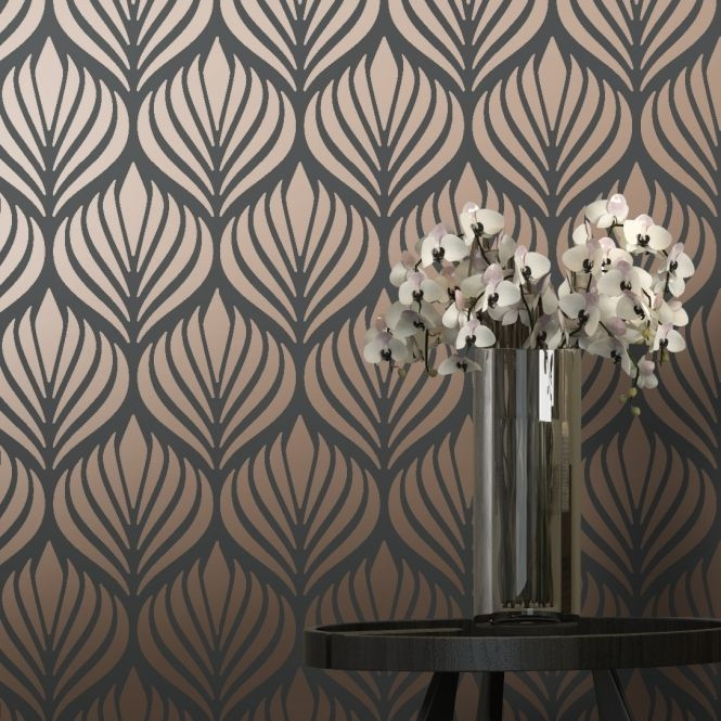 Copper charcoal retro print wall paper