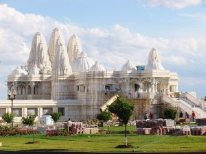 BAPS Shri Swaminarayan Mandir in Etobicoke, just northwest of Toronto, Canada. No steel was used in building this architectural and engineering marvel. It's all stone on stone; traditional Vedic principles specifying how a holy building should be built were followed, including the use of only stone because it's considered the most sacred of all building materials.