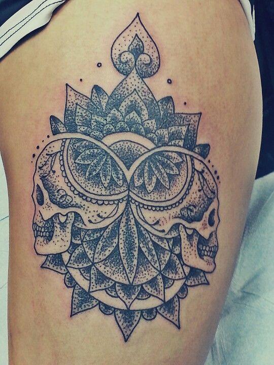 Stippling Tattoo Sleeves: Geometric Skull Stipple Thigh Tattoo