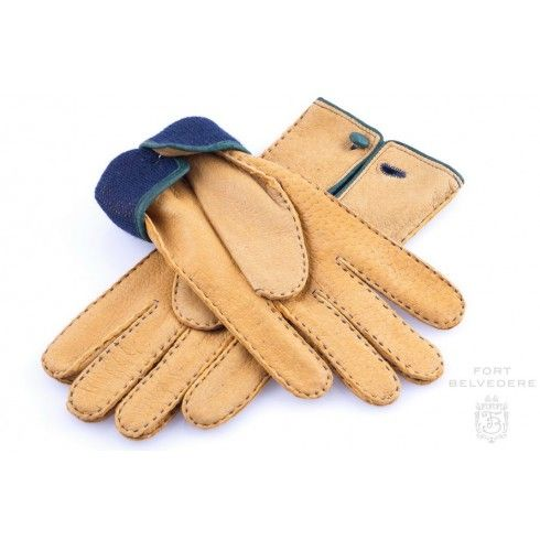 Peccary Gloves in Chamois Yellow with Button & Lining ...