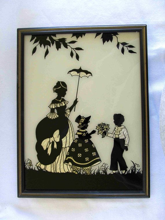 Vintage Reverse Glass Painting Picture Colonial Sweethearts