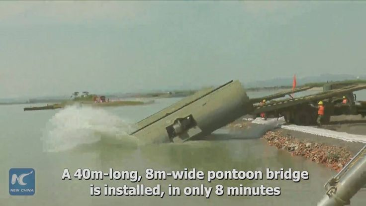 40m-long pontoon bridge installed in 8 minutes in flood risk training in Wuhan, China.