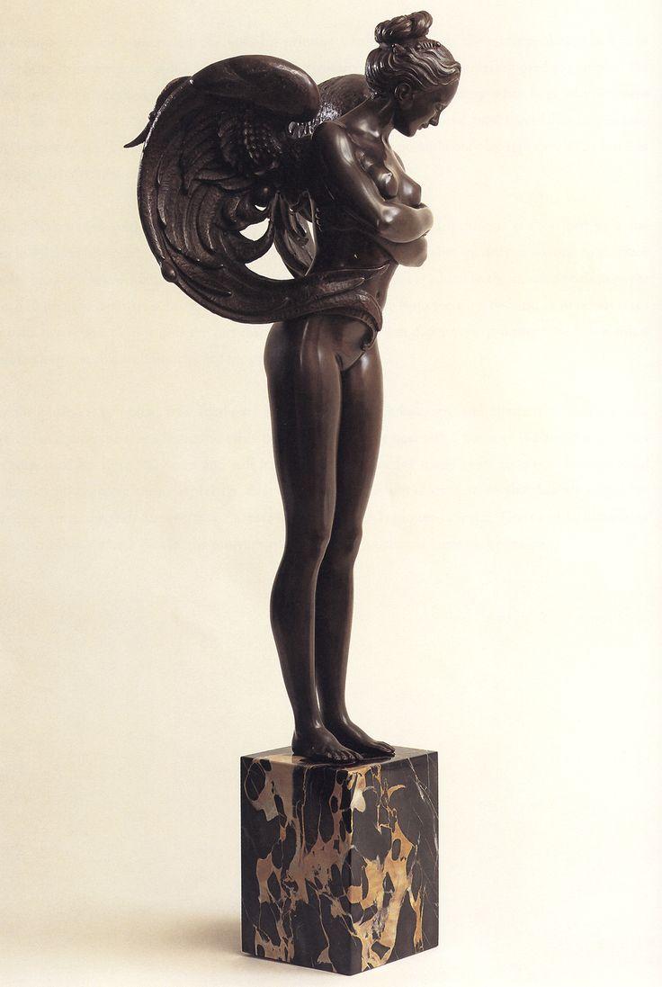 Art fairs mechanical movement metal paris russia sculptures wood - Bronze Angel Sculpture By Michael Parkes
