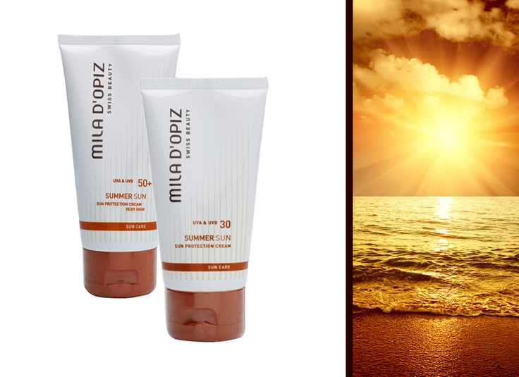 Mila d'Opiz Australia - Swiss Sun Care Sun Protection Cream SPF 30+ and 50+. Optimal Protection. For face and body. Regenerating, soothing and moisturizing.