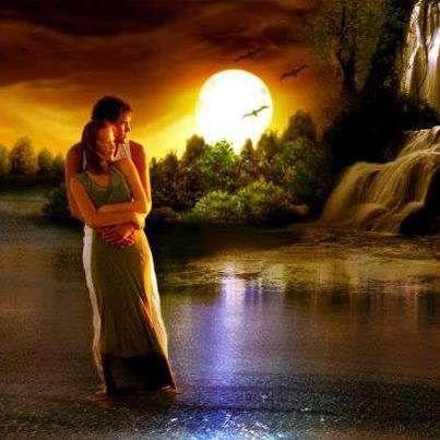 Pintura romántica de una pareja antes de cascadas durante ...
