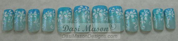 Pastel Teal with White Flowers Instant Acrylic Nail by dasimason, $10.00