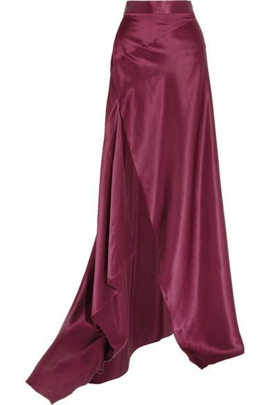 Michael Lo Sordo's 'Empress' Skirt is cut from Merlot Silk-Satin in a floor-sweeping silhouette. It sits at the Natural Waist, with an Inlayed Diagonal Band across the Hips and a Slit along the front for billowy movement. Pair it with an Off-White Tulle Blouse with a V-Neck, Tiered Sleeves and a little Pleated Peplum. I've got a Ruby Pendant, matching Earrings and Ring for sparkle. Wear Merlot Sandals and carry a Crystal Bag (It's all on this board). You can Work this skirt. - Gabrielle