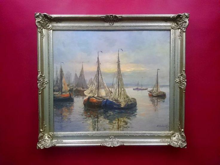 Obraz olejny Josef Dederichskutry rybackie przy brzegu
