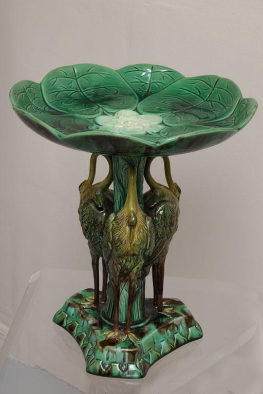 Rare Antique Majolica Crane & Pond Lily Centerpiece