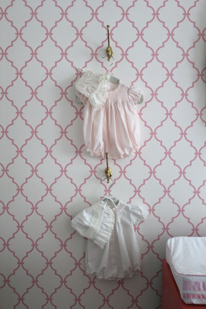Cute way to display heirloom baby outfits - #nurserydecor