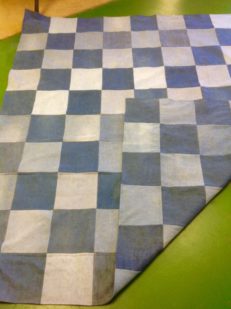Bleu Redux heavy-weight, double-sided Upcycled Denim Blanket by GrandmaRietas on Etsy