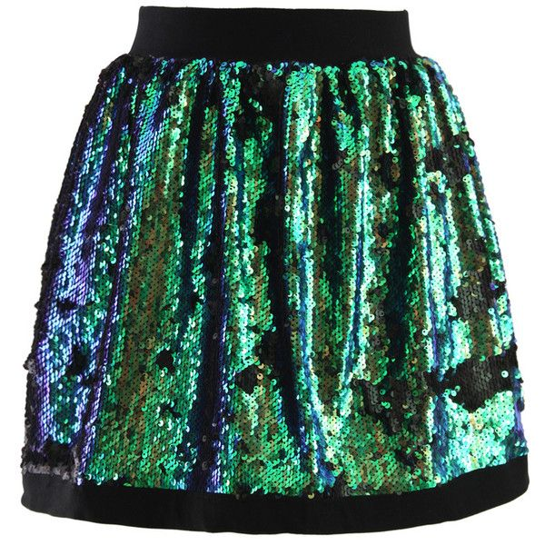 Silvery Green Sequins Embellished Bud Skirt ($36) ❤ liked on Polyvore featuring skirts, green polka dot skirt, dot skirt, travel skirt, polka dot skirts and green sequin skirt