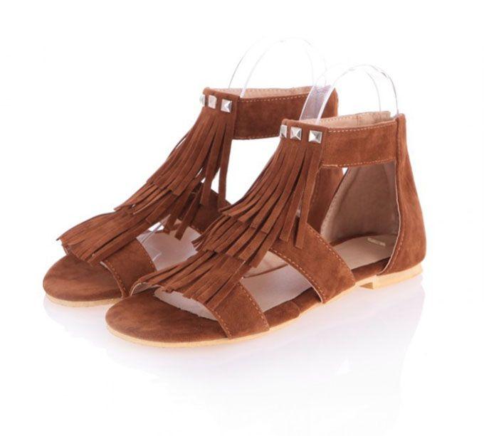 Женская мода Круглым Носком туфли женские летние сандалии Обувь Кисточкой квартиры случайные и удобную обувь для женщин большого размера 34-43