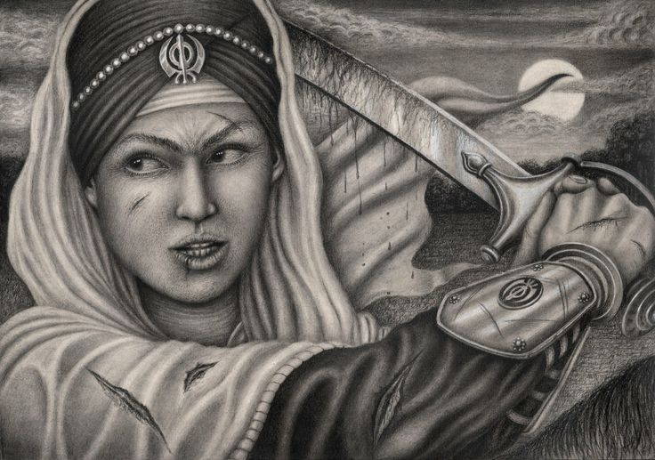 My interpretation of 'Mai Bhago Ji' a female Sikh soldier and bodyguard for Guru Gobind Singh for my 'Sikh art' exhibition in November - Graphite drawing by Pen-Tacular-Artist.deviantart.com on @deviantART  | Sikhpoint.com