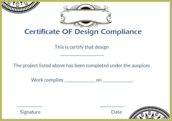 Certificate Of Design Compliance Template Printable