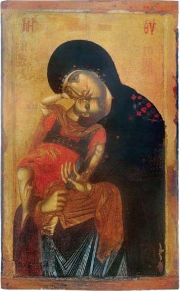 Χαίρε Κεχαριτωμένη Μαρία ! ~~~ Our Lady Glykophilousa Kecharitomene (late thirteenth or early fourteenth century), The Holy Xenophontos Monastery, Mount Athos, Greece