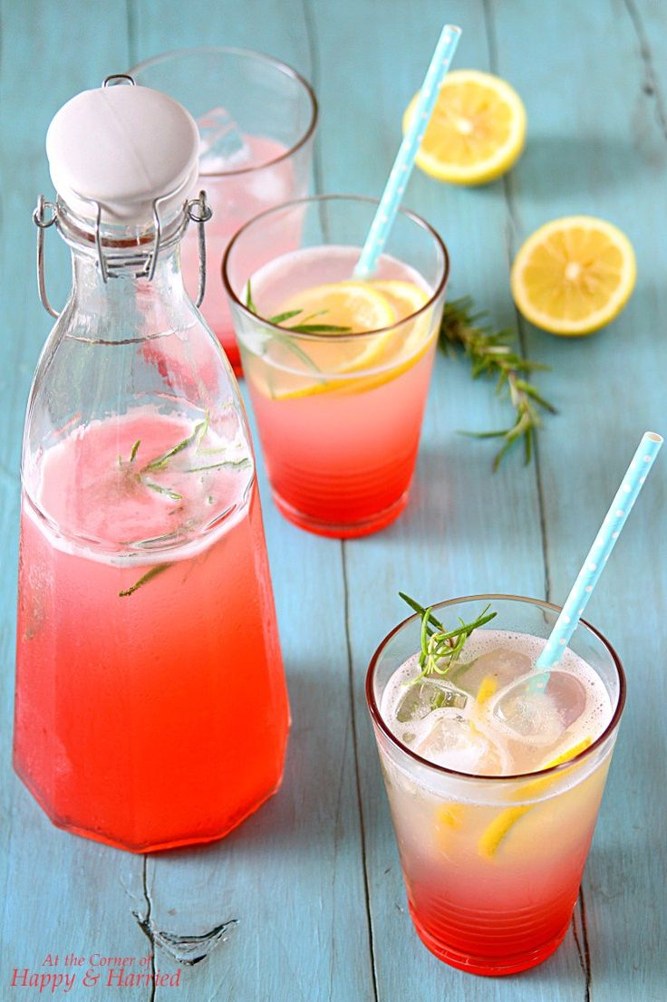 ROSE LEMONADE. Beautiful pink-hued rose flavored lemonade to #beattheheat. #happyandharried #summer #beverage #drink #lemonade #rose #rosemary