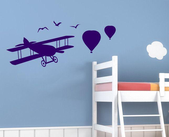 Wandtattoo - Wandtattoo Wandaufkleber Wandtatoo Flugzeug Kinder - ein Designerstück von a-r-s-l-i-n-e-a-Design bei DaWanda