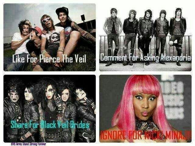 Can I do all at once except nicki whatever her name is? I love all three of those bands
