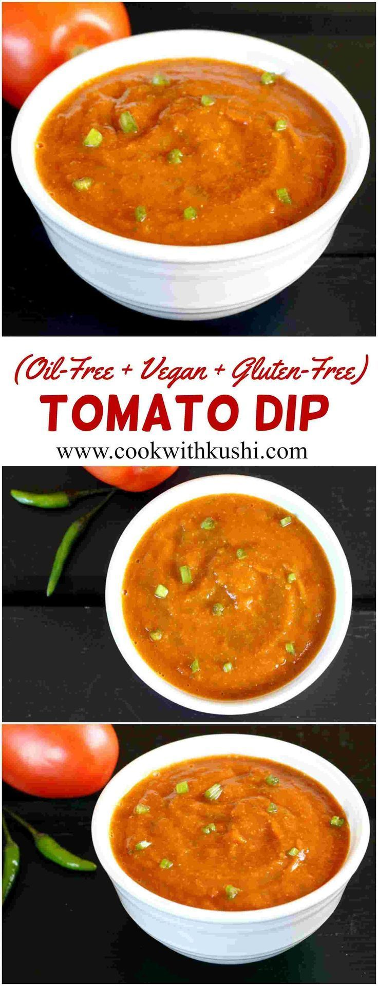 Tomato Chutney or dip is a oil-free, tangy and spicy, flavorful dip prepared in less than 15 minutes. This recipe is vegan and gluten free. #vegan #glutenfree #oilfree #dip #chutney #recipe #tomato #appetizer #snack #lunch #dinner #holiday #spicy #feedfeed #buzzfeedfood #rawvegandinner #rawveganrecipes