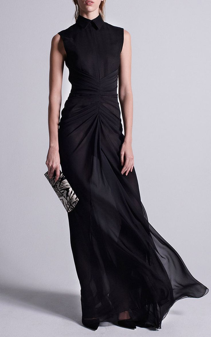 Silk Chiffon Sleeveless Rouched Gown by J. Mendel for Preorder on Moda Operandi