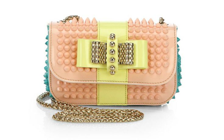 Christian Louboutin Sweet Charity Studded Tri-Color Patent Bag #louboutin