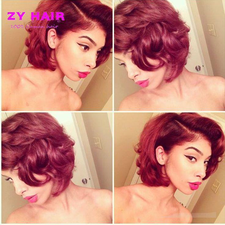 7A onda del cuerpo Ombre paquete armadura del pelo Ombre rojo Red Color Body Wave Short Full Head Wave Hair for Summer Fashion