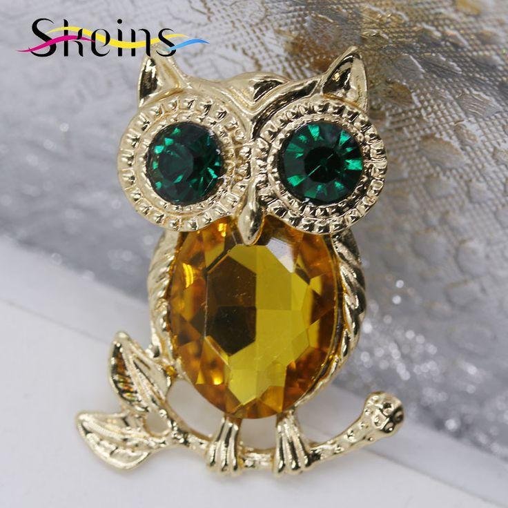 The New  Summer Style Fashion Owl Brooch Vintage Crystal Rhinestone Wedding Scarf Pins For Women