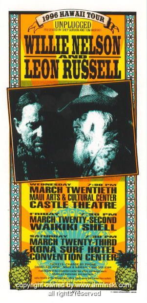 1996 Willie Nelson & Leon Russell Poster by Arminski (MA-9605) I was lucky enough to see Leon in 1975!