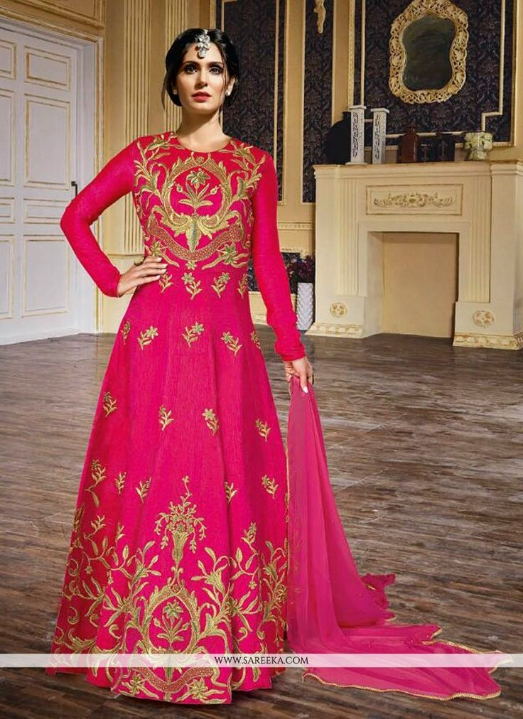 Make the heads flip whenever you dress up in this kind of a lovely hot pink silk anarkali salwar kameez. The embroidered and resham work looks chic and fantastic for any function. Comes with matching ...