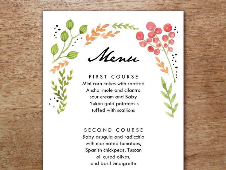 13 best Custom Menu Templates images on Pinterest Menu templates - wedding menu template