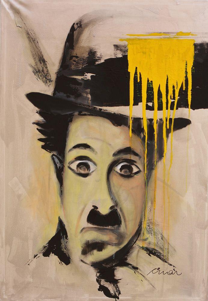 Charlie Chaplin Portrait - Contemporary Art Painting - Florin Coman