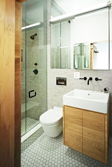 Bathroom - Fancy Floating Vanity Tiny Bathroom With Wooden Vanity The White Sink Clear Mirror And The Glass Shower Room White Sink: Awesome Small Bathroom Design Ideas for Your Comfortable Relaxation Time