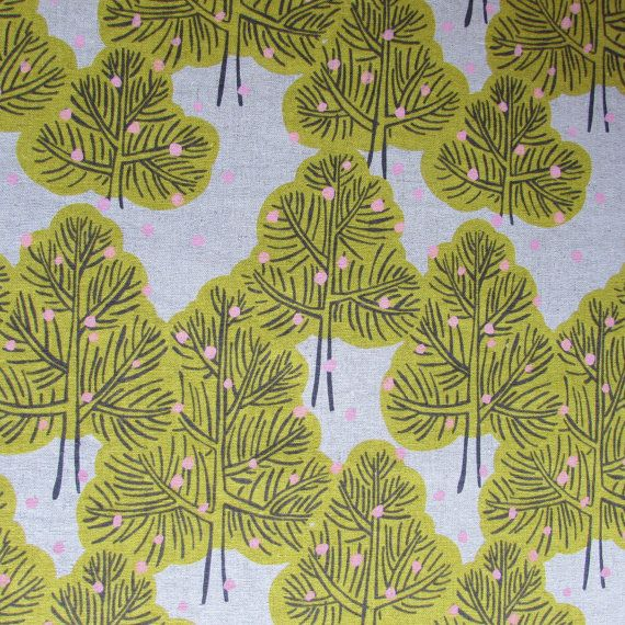 Trees in Yellow  Hokkoh Cotton Canvas Fabric Fat by TheFabricFoxUK