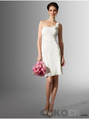 Korta-Brudklänningar-korta-bröllopsklänningar-med-en-axelrem-chiffong