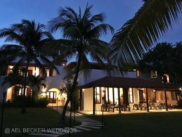 Hotel Esencia by night. Luxury retreat in Riviera Maya, Mexico. Ael Becker Weddings
