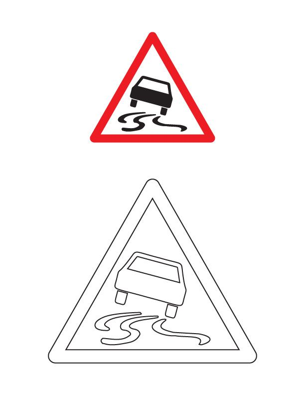 Slippery road traffic sign coloring page