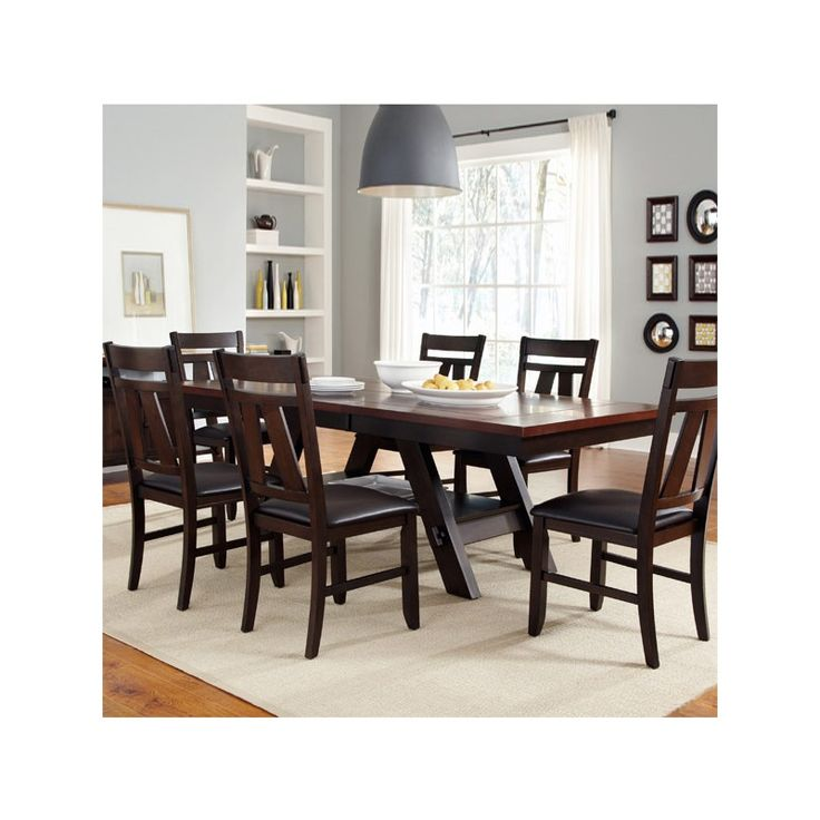 Lawson 7 Piece Modern Faux Leather Dining Set