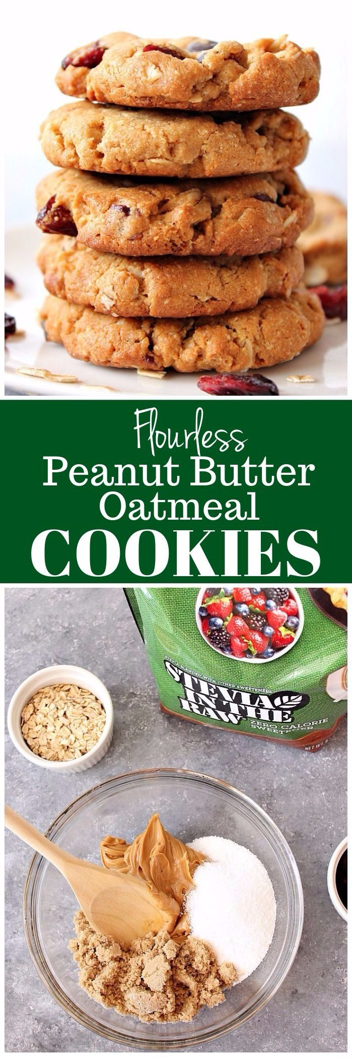 Flourless Peanut Butter Oatmeal Cookies Recipe - sweet and delicious cookies made with peanut butter and packed with oats and dried fruit. | www.crunchycreamysweet.com