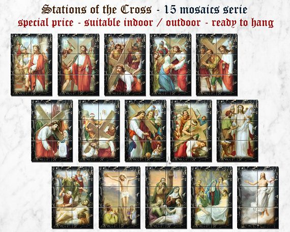 #Stations of the #Cross - high value tile murals serie >>> https://www.etsy.com/listing/527835731 <<< 15 mosaics / tile murals serie - Each mosaic is composed by 6 ceramic tiles and is ready to hang (tiles are glued on mdf wood panel). A very special price for a great collection.Free shipping to selected countries. 100% handmade in Italy.All #mosaics are suitable indoor / outdoor. A great #christian #catholic gift for your home, your garden, your #Church.