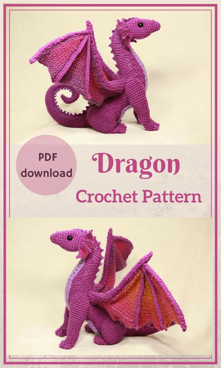 PDF download crochet pattern for a sophisticated and cute Dragon. #Affiliate