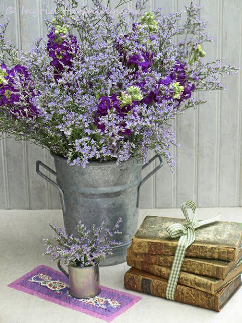 Lavender flower arrangement- baby shower? just add some pink?