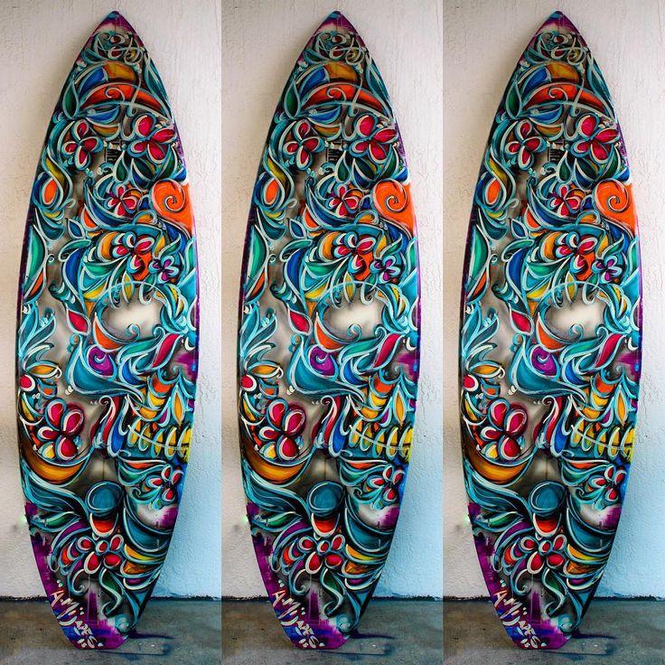 "ALEXANDER MIJARES on Instagram: ""Title: step Into Liquid ( 1 of 1 ) Year: 2015 Size: 6'6 Medium: mixed media on surfBoard Pricing:  info@mijares.com Web: www.Mijares.com #MijaresArt #Art #SurfBoard #mickFanning #skull #ocean #BeachLife #MerrickBoards"""