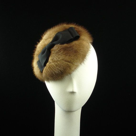 Handmade Mink Fur Fascinator Hat Up-Cycled Autumn Haze Brown Mink 1950s Vintage Style Womens Hat - The Millinery Shop